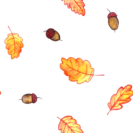 seamless pattern with autumn watercolor oak leaves and acorns, hand drawn design elements