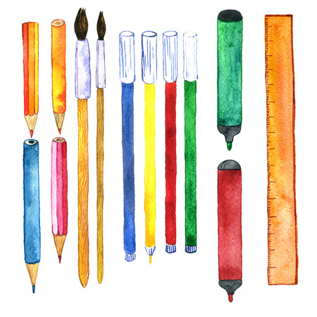 art supplies: school stationery, watercolor drawing pencils,ruler,markers, set of art supplies, hand drawn illustration Stock Photo