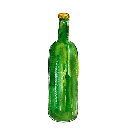 watercolor green bottle of beer, alcohol drink, hand drawn illustration