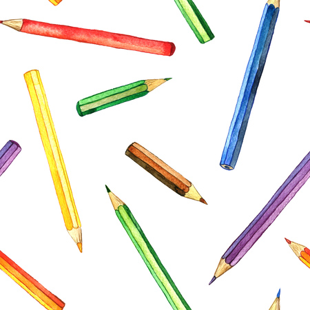 art supplies: seamless background with color pencis, pattern with school stationery, watercolor drawing template with of art supplies, hand drawn illustration Stock Photo