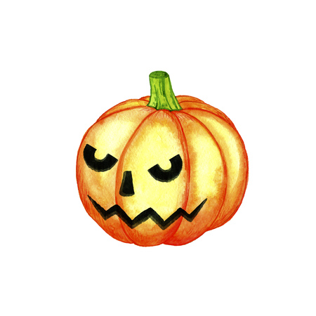 halloween watercolor isolated orange pumpkin at white background, hand drawn illustration