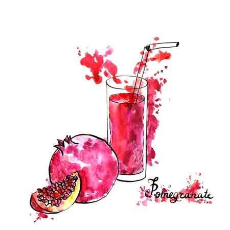 summer drink: glass with natural red fresh fruit juice and pomegranate, refreshing summer drink, hand drawn watercolor illustration Stock Photo
