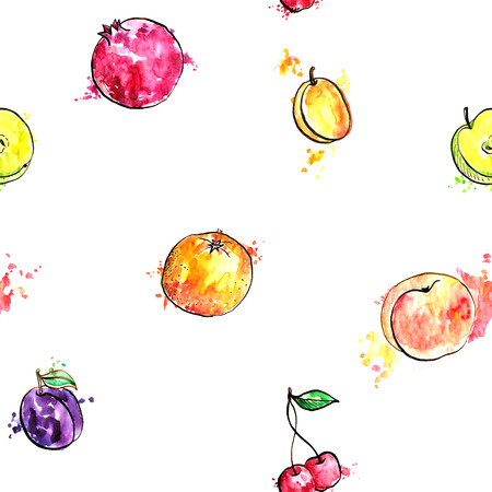 seamless bacground: seamless pattern with fruits, food bacground with apricot,orange,plum and cherry, hand drawn artistic illustration Stock Photo