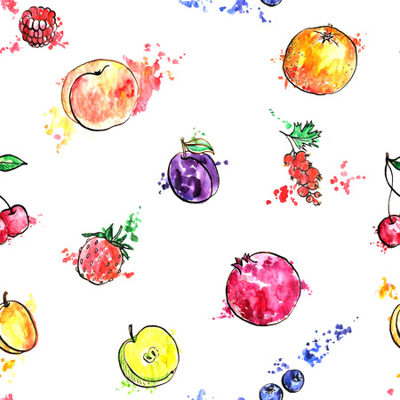 seamless bacground: seamless pattern with fruits, food bacground with apricot,orange,plum, pomegranate and berries, hand drawn artistic illustration