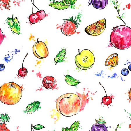 seamless pattern with fruits, food bacground with apricot,orange,plum, pomegranate, green mint leaves and berries, hand drawn artistic illustration