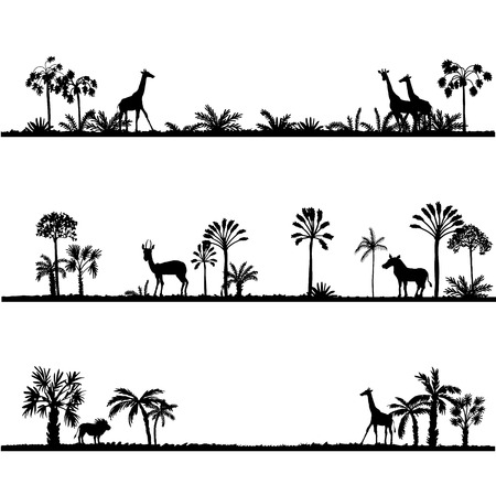 silhoette: set of african landscapes, palms silhouettes and wild animals, exotic trees and giraffes, hand drawn vector design elements