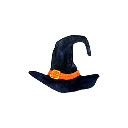 gold buckle: halloween symbol, watercolor black witch hat with a purple ribbon and a gold buckle, hand drawn illustration, isolated design element Stock Photo