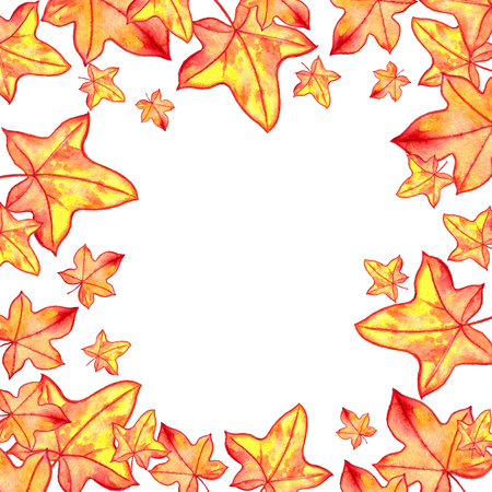 background with autumn maple watercolor orange and yellow leaves , nature template,foral frame, hand drawn design elements Stock Photo