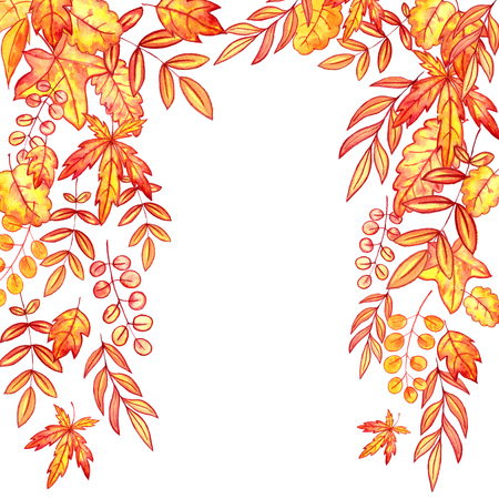 background with autumn watercolor orange and yellow leaves , nature template,foral frame, hand drawn design elements