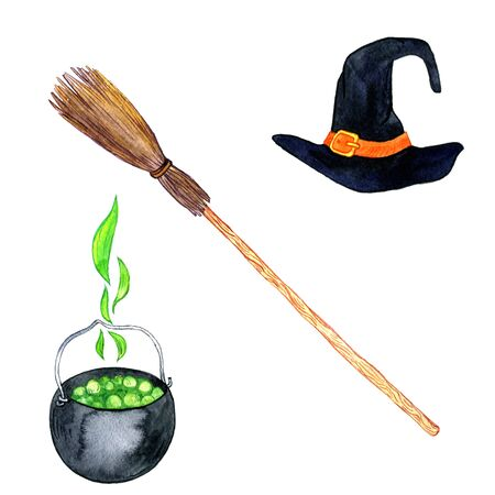 flying hat: halloween symbols, acessories of witch, black hat, flying broom and cauldron with poison, hand drawn illustration, isolated design element Stock Photo