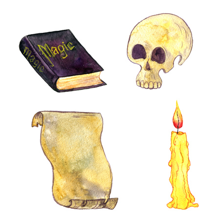 magic set, watercolor human skull, magician book, cndle and parchment, cartoon halloween symbols,hand drawn illustration,isolated design element