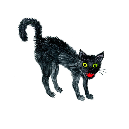 waterverftekening zwarte boze kat, cartoon dier, halloween symbool