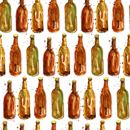brown bottles: seamless pattern with brown bottles of beer, alcohol drinks ornament, octoberfest background, hand drawn illustration,oktoberfest template