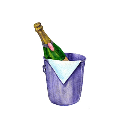 popping cork: watercolor bottle of champagne. hand drawn illustration