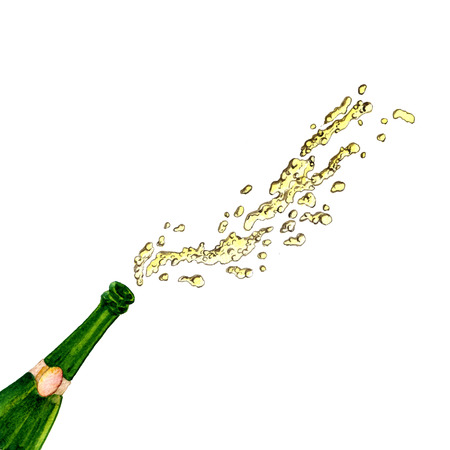 popping cork: watercolor bottle with splashing champagne. hand drawn illustration
