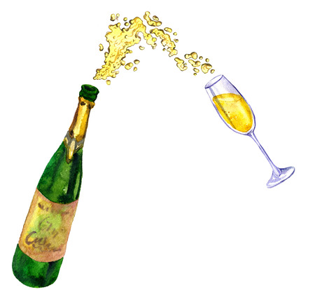 splashing: watercolor bottle with splashing champagne nd glass, hand drawn illustration Stock Photo