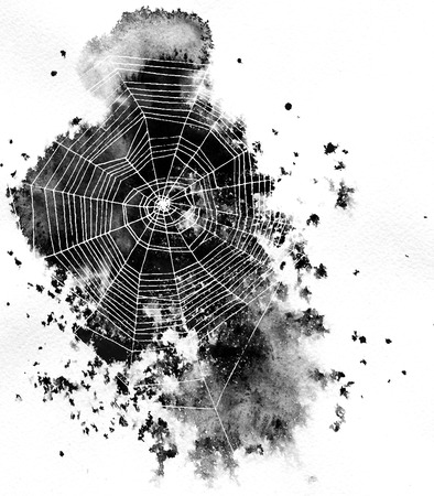 hand drawn spiderweb at black watercolor background, silhoueete of web, hand drawn illustration, halloween template