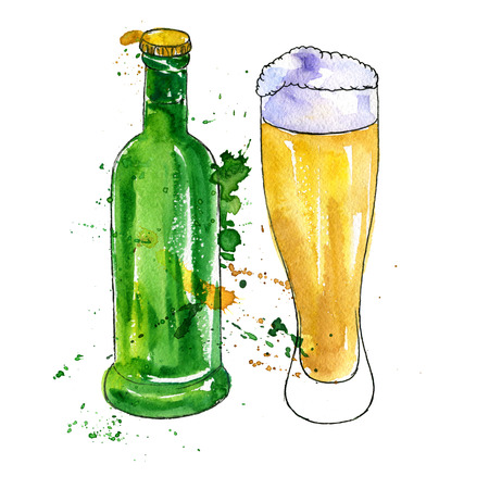 watercolor green bottle and glass of beer, alcohol drink, hand drawn illustration, oktoberfest template Stock Photo