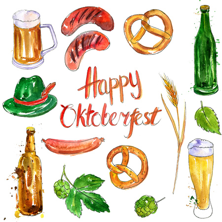 watercolor oktoberfest set, mugs and glasses of beer, hop plant,snacks, sausages and pretzels, hand drawn illustration