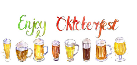 watercolor mugs and glasses of beer, alcohol drink, octoberfest symbol, hand drawn illustration,oktoberfest template Stock Photo
