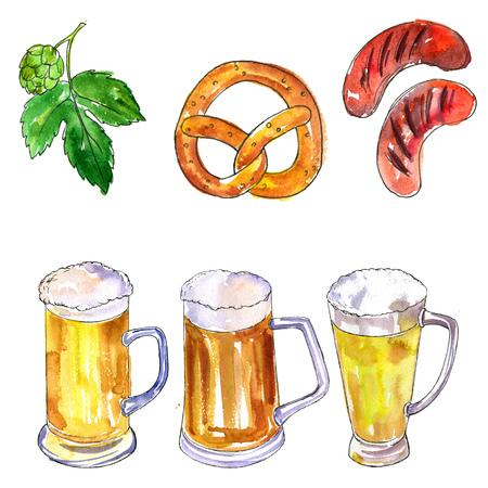 hop plant: watercolor oktoberfest set, mugs and glasses of beer, hop plant,snacks, sausages and pretzels, hand drawn illustration