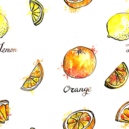 ornage: seamless pattern with hand drawn lemons and oranges, ornament with watercolor drawing fruit with paint stains, food background Stock Photo