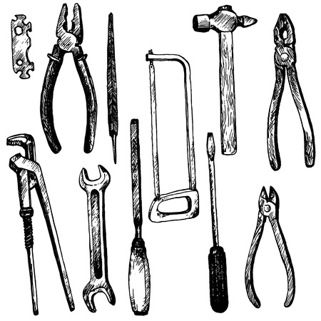 tool kit: hand drawn tool kit isolated at white background, screwdriwer, saw and pliers, hummer and wrench, vintage ink drawing vector illustration