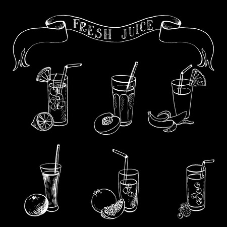 hand drawn set of fruit juice and freshes, ink drawing vector elements