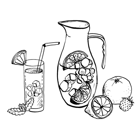 pitcher of lemonade, fresh fruit and berries, and drink in a glass
