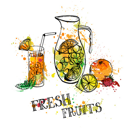 pitcher of lemonade, fresh fruit and berries, drink in a glass,hand drawn illustration Illustration