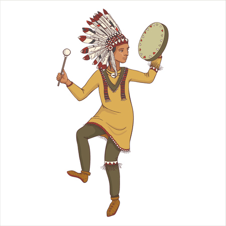 native american, indian man in traditional costume with drum, hand drawn illustration
