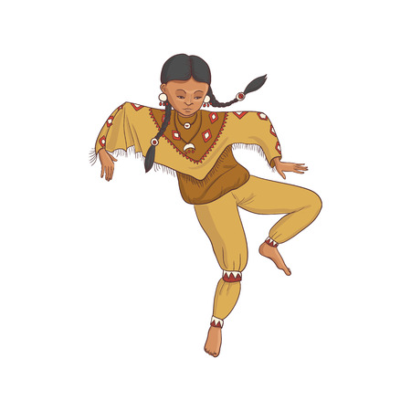 native american, dancing indian girl in traditional costume, hand drawn illustration