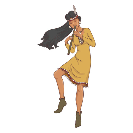 native american, dancing indian woman in traditional costume with flute, hand drawn illustration