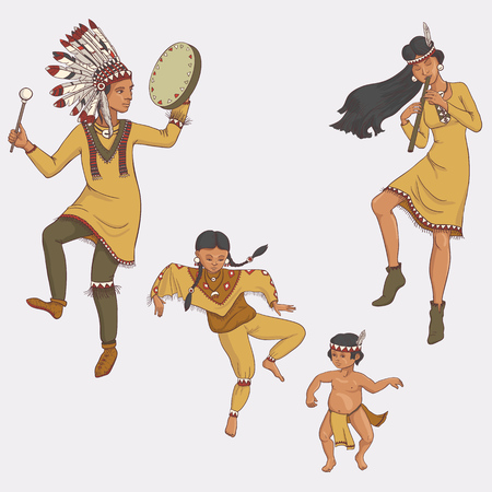 native americans, dancing indian family in traditional costume with flute and drum, hand drawn illustration
