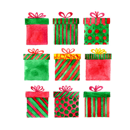simplify: set of watercolor red and green gift boxes, new year and Christmas isolated design elements