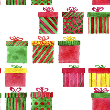 simplify: seamless pattern with watercolor gift boxes, new year and Christmas background