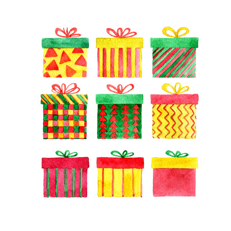 set of watercolor red, yellow and green gift boxes, new year and Christmas isolated design elements