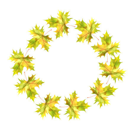round frame with realistic watercolor autumn leaves of maple tree, hand drawn nature background,floral template