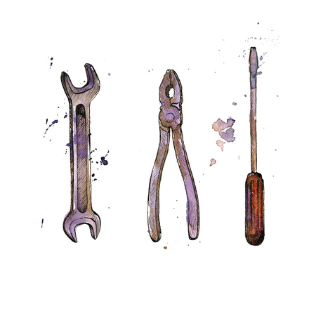 screwdriwer: hand drawn tool kit isolated at white background, screwdriwer, pliers and wrench, vintage ink and watercolor drawing illustration