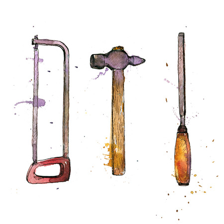 tool kit: hand drawn tool kit isolated at white background, shacksaw, hammer and chisel, vintage ink drawing illustration