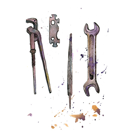 hand tool: hand drawn instruments isolated at white background, adjustable wrench, tool kit, vintage ink and watercolor drawing illustration Stock Photo