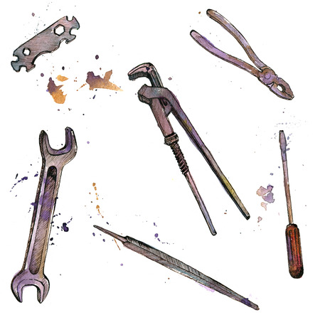 tool kit: hand drawn instruments isolated at white background, adjustable wrench, tool kit, vintage ink and watercolor drawing illustration Stock Photo