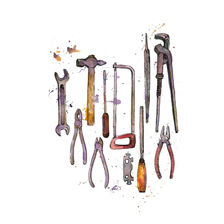 tool kit: hand drawn tool kit isolated at white background, shacksaw, adjustable wrench, hammer, pliers and chisel, vintage ink drawing illustration Stock Photo