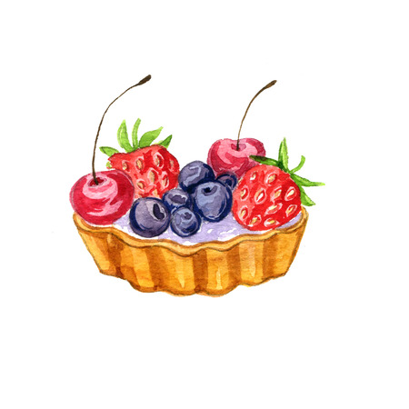 watercolor cake with fresh berries isolated at white background, hand drawn illustration