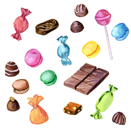 bonbons: watercolor chocolate candies, macaroons and lollipop isolated at white background Stock Photo