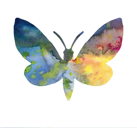 color watercolor silhouette of butterfly, isolated insects, hand drawn design elements