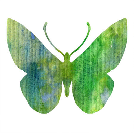color watercolor silhouette of green butterfly, isolated insects, hand drawn design elements