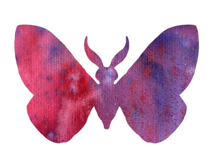 color watercolor silhouette of purple butterfly, isolated insects, hand drawn design elements