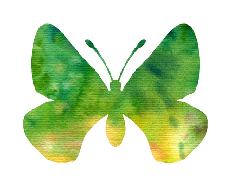 peacock butterfly: color watercolor silhouette of green butterfly, isolated insects, hand drawn design elements