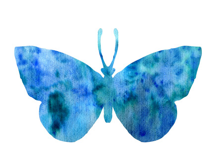 peacock butterfly: color watercolor silhouette of blue butterfly, isolated insects, hand drawn design elements Stock Photo